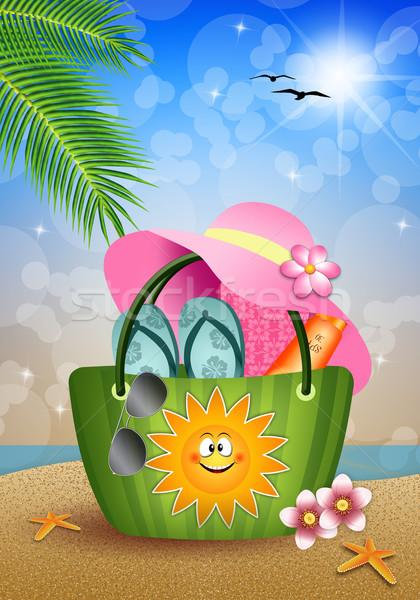 Beach bag on sand at sea Stock photo © sognolucido