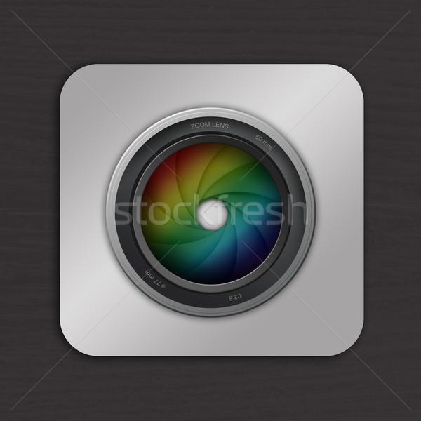 Kameralencse illusztráció profi lencse videókamera fotós Stock fotó © sognolucido