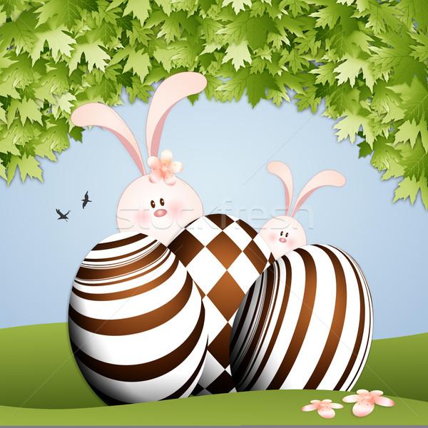 ウサギ チョコレート 卵 実例 イースター 花 ストックフォト © sognolucido