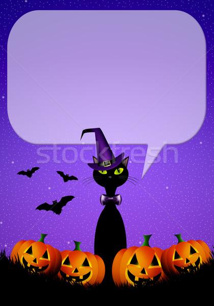 Black cat for Happy Halloween Stock photo © sognolucido