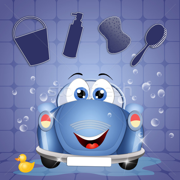 Grappig car wash illustratie auto water dienst Stockfoto © sognolucido