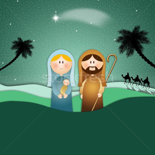 Sahne Noel neşeli İsa kartları din Stok fotoğraf © sognolucido