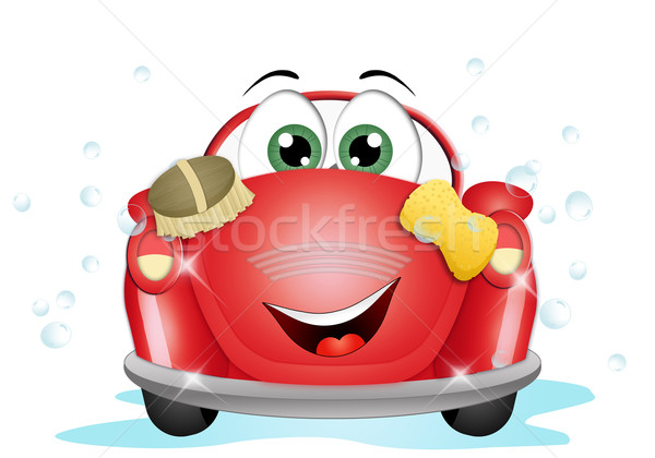 Car wash illustratie grappig water auto dienst Stockfoto © sognolucido