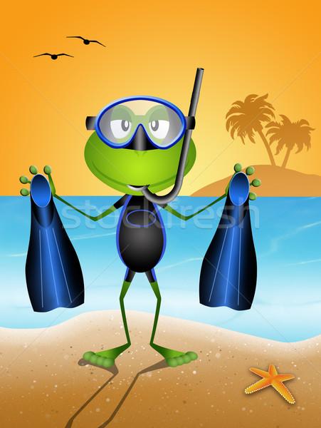 Komik kurbağa dalış maske plaj Stok fotoğraf © sognolucido