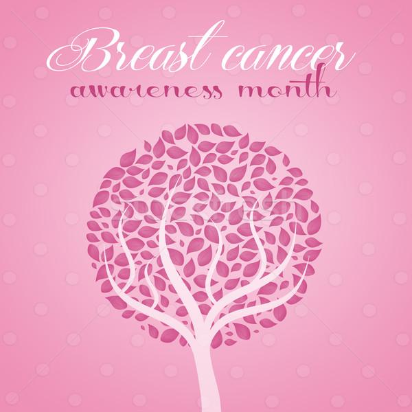 Boom borstkanker roze het voorkomen vrouw meisje Stockfoto © sognolucido