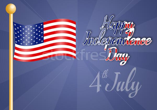 американский флаг счастливым день синий флаг звездой Сток-фото © sognolucido