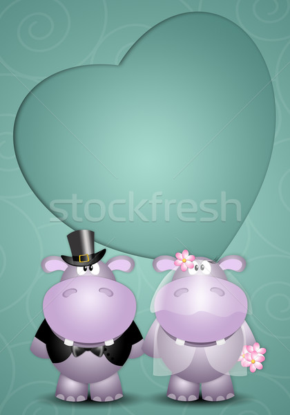 A couple of hippos spouses Stock photo © sognolucido