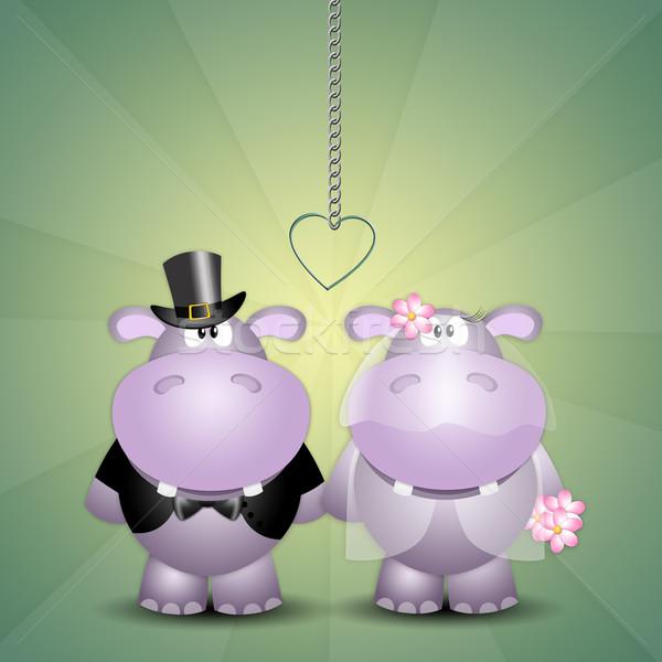 Pár friss házasok illusztráció esküvő szeretet házas Stock fotó © sognolucido