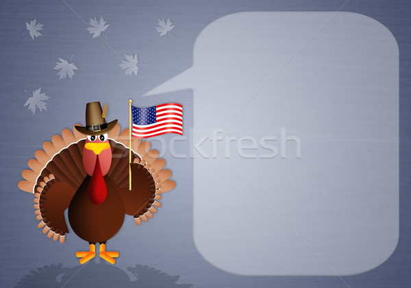 Funny turkey with American flag Stock photo © sognolucido