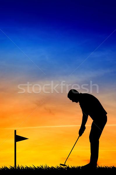 Golfer silhouette Stock photo © sognolucido