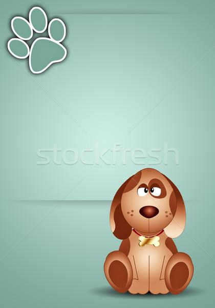 Köpek ayak izi komik Stok fotoğraf © sognolucido