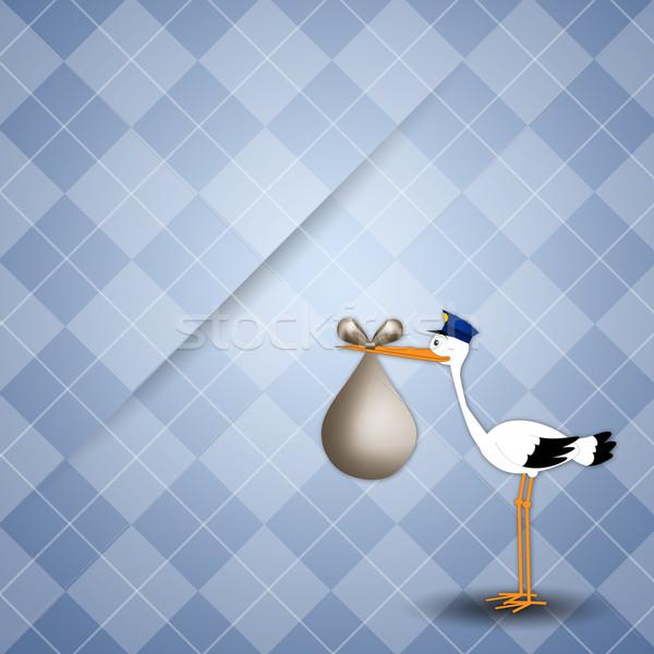 Storch Baby Junge Kind Vogel Karte Stock foto © sognolucido