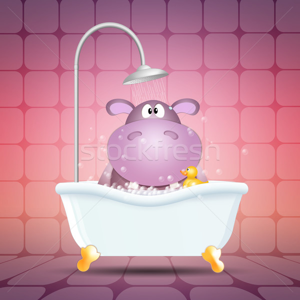 Hippo on bath Stock photo © sognolucido