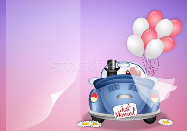 ストックフォト: カップル · 実例 · 車 · 結婚式 · 愛