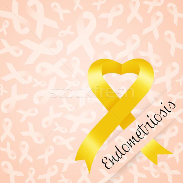ストックフォト: 黄色 · リボン · 医師 · 女性 · 戦う · 痛み