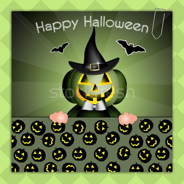 Szczęśliwy halloween maska hat uroczystości witch Zdjęcia stock © sognolucido