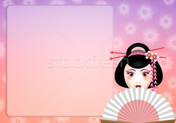 Gueixa ilustração belo mulher cara asiático Foto stock © sognolucido