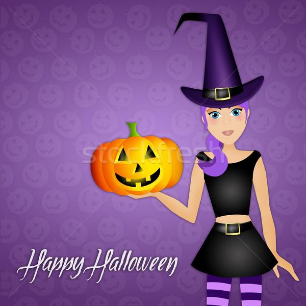 Stok fotoğraf: Komik · cadı · halloween · gün · örnek · kabak