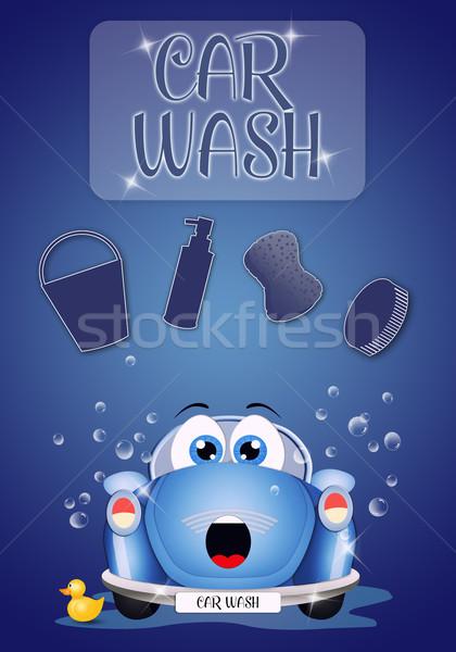 смешные автомойку иллюстрация Nice автомобилей стиральные Сток-фото © sognolucido