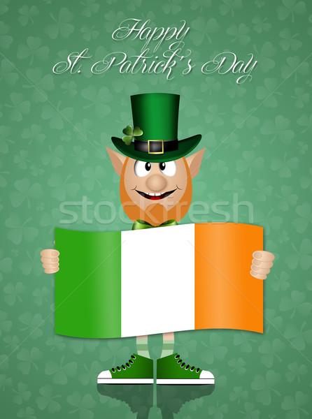 Irish man with Ireland flag for St. Patrick's Day Stock photo © sognolucido