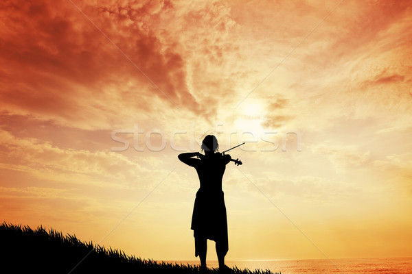 Violinist woman at sunset Stock photo © sognolucido