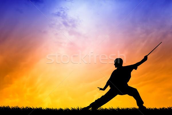 Shaolin pose at sunset Stock photo © sognolucido