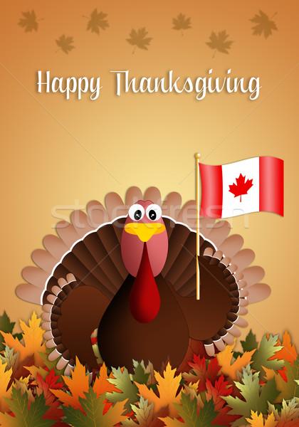 Heureux action de grâces illustration Turquie drapeau canadien feuille Photo stock © sognolucido