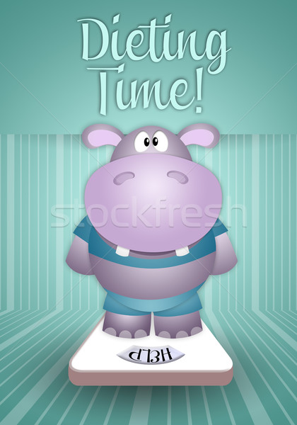 Hippo on balance for weight loss Stock photo © sognolucido