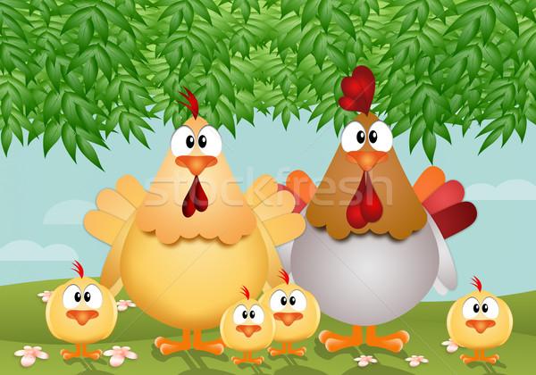 смешные курица семьи иллюстрация Пасху цветок Сток-фото © sognolucido