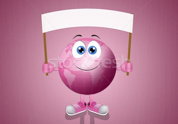 Rosa terra câncer de mama prevenção ilustração menina Foto stock © sognolucido
