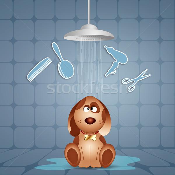 Funny perrito ilustración animales burbujas bano Foto stock © sognolucido