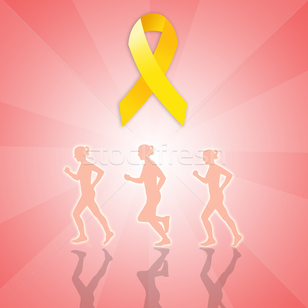 Endometriosis march with yellow ribbon Stock photo © sognolucido