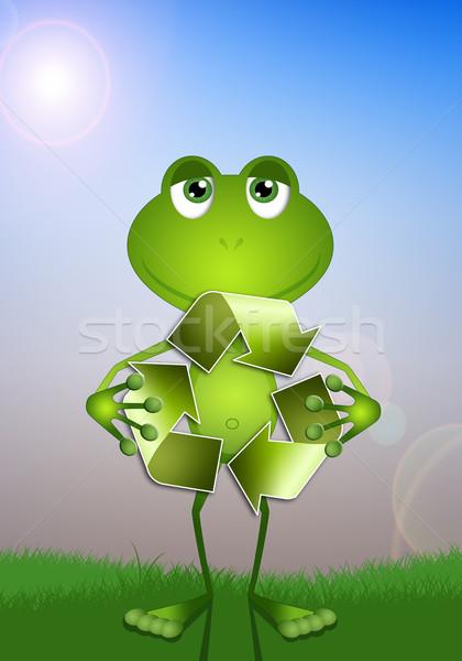 смешные лягушка Recycle символ иллюстрация экология Сток-фото © sognolucido