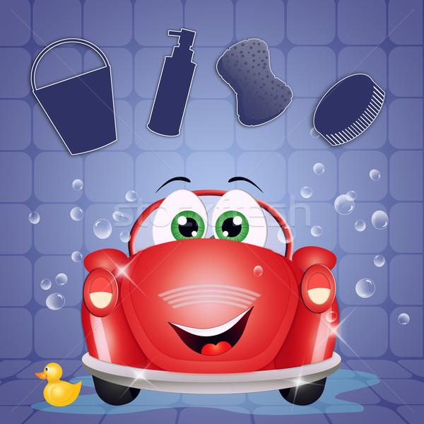 Araba yıkama örnek komik oto yıkama su Stok fotoğraf © sognolucido
