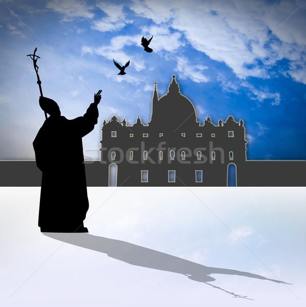 Pope silhouette Stock photo © sognolucido