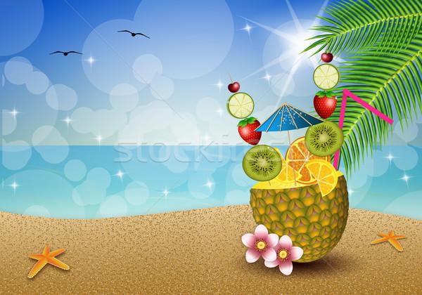 Ananas plaj örnek içmek meyve gıda Stok fotoğraf © sognolucido