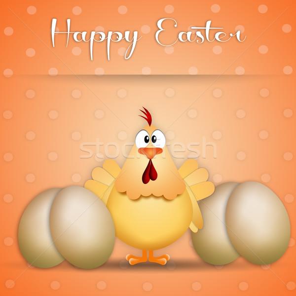 Христос воскрес иллюстрация курица яйца Пасху Сток-фото © sognolucido