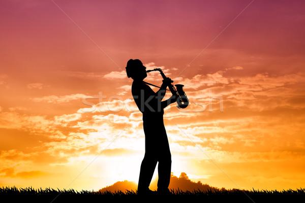 ストックフォト: 日没 · 実例 · 男 · 自然 · 楽しい · 日の出
