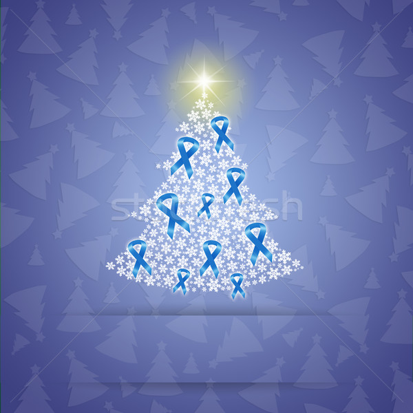 Christmas tree with blue awareness ribbons Stock photo © sognolucido