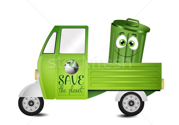 ван коллекция мусора иллюстрация окна зеленый Сток-фото © sognolucido