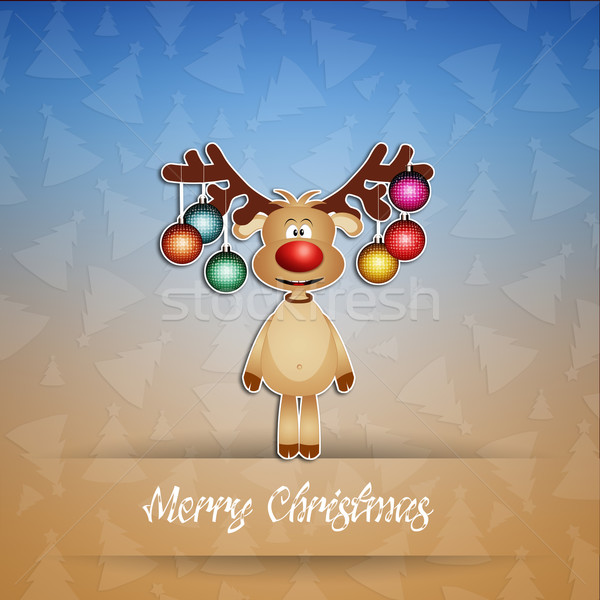 Funny reindeer with Christmas decorations Stock photo © sognolucido