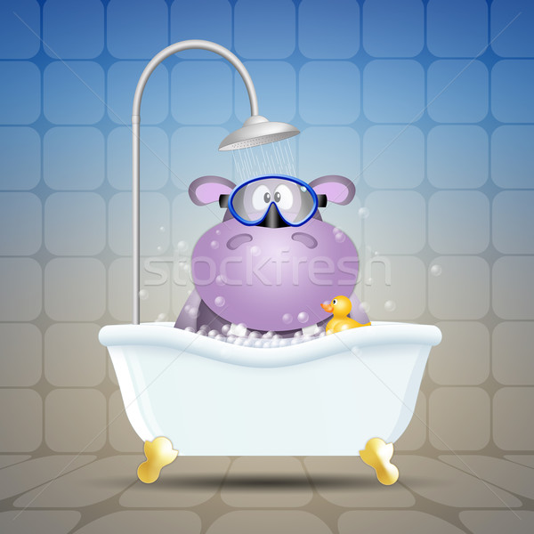Hippo with diving mask on bath Stock photo © sognolucido