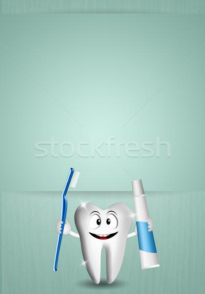 Funny zębów opieka stomatologiczna ilustracja dentysta uśmiech Zdjęcia stock © sognolucido