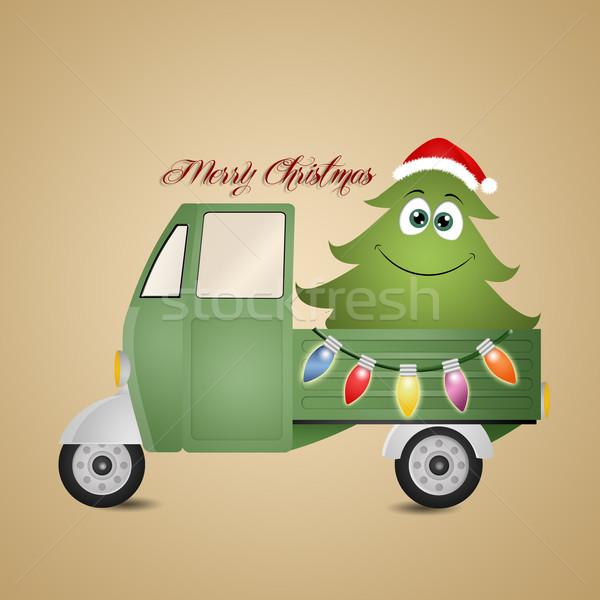 面白い クリスマスツリー トラック 自然 背景 ライト ストックフォト © sognolucido