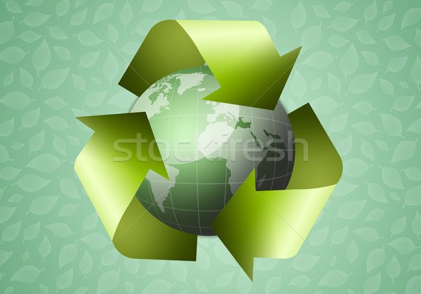Recycle symbol with green globe Stock photo © sognolucido