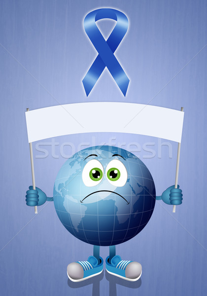Blue earth with blue ribbon  Stock photo © sognolucido