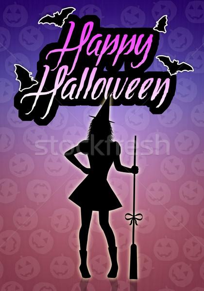 Szczęśliwy halloween ilustracja witch sylwetka hat Zdjęcia stock © sognolucido