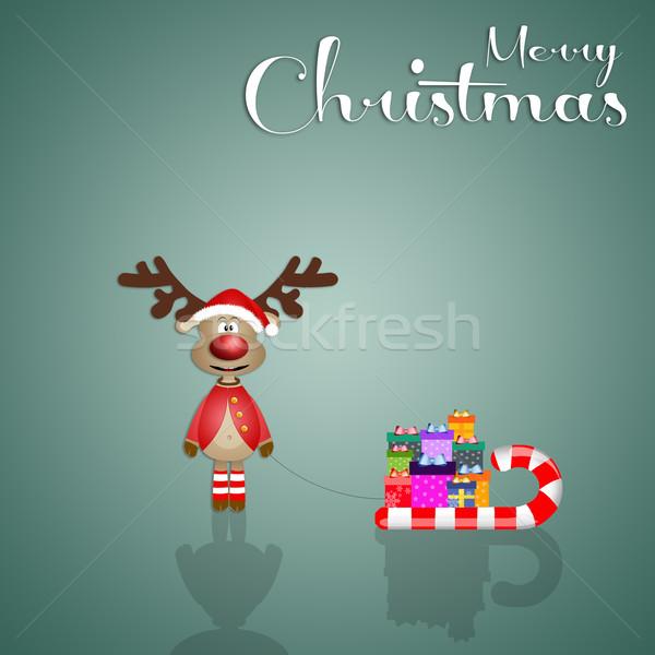 Neşeli Noel komik ren geyiği slayt kart Stok fotoğraf © sognolucido