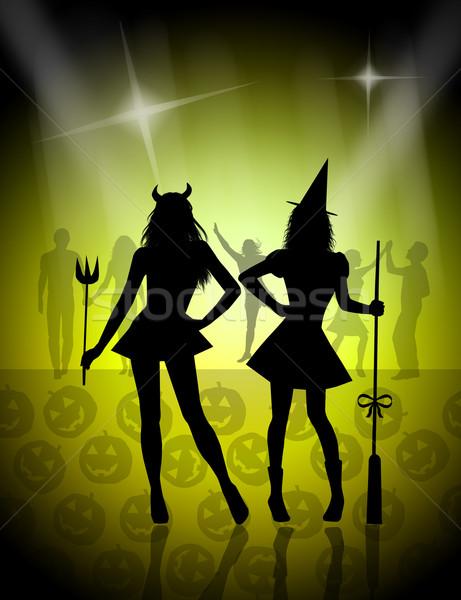 Glücklich Halloween Maske hat Feier Hexe Stock foto © sognolucido
