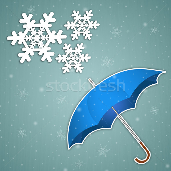 Umbrella with snowflakes Stock photo © sognolucido